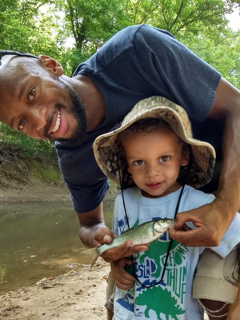 Fishing with my son in Columbia, MD stream