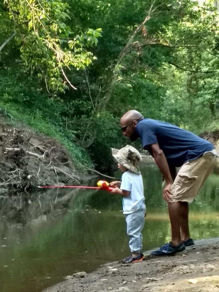 Fishing in Columbia, MD stream