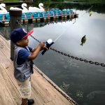 Fishing on the pier at Lake Kittamaqundi in Columbia, MD