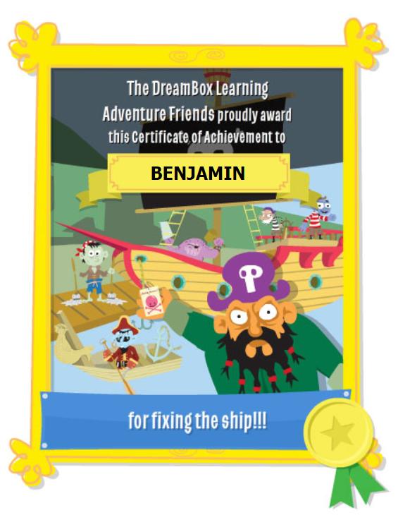 dreambox certificate of achievement