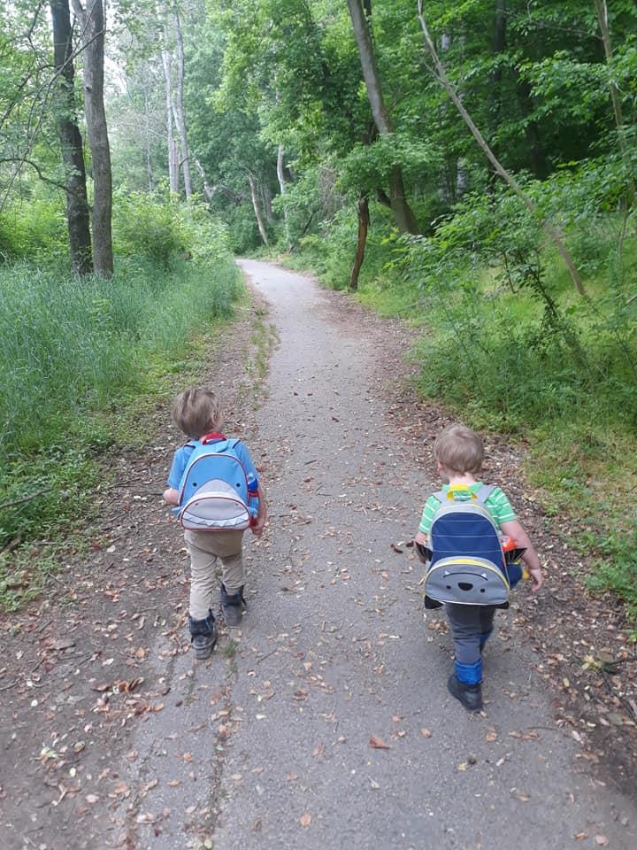 Kids walking the Alberton Road Trail in Maryland